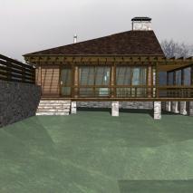сибирская-баня.рф: Проект бани с террасой. Архитектор: Сергей Косинов. Новосибирск