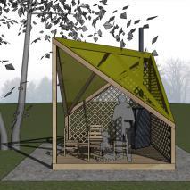 Эскизный проект дачного павильона «Шалаш «Копчёный». Архитектор: Сергей Косинов
