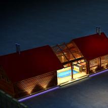 сибирская-баня.рф: Проект банного комплекса с бассейном «Люкс». Общий вид комплекса. Архитектор: Иван Фаткин. Новосибирск
